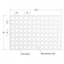 ONCYTE® AVID 96- 6mm Diameter, NC Round Pads for Microtiter Plate Glass Substrate, 74 x 110 x 1mm - SKU: 305096 - EACH