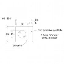 HBW13-HybriWell™  1-13mm Diameter X 0.15mm Depth, 18UL Approx. Vol., 25mm X 28mm OD, SecureSeal™ Adhesive Chamber, 1.5mm Diameter Ports, 200 Port Seals Included - SKU: 611101 - 100 PACK