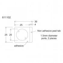 HBW20-HybriWell™ 1-20mm Diameter X 0.15mm Depth, 30UL Approx. Vol., 25mm X 30mm OD, SecureSeal™ Adhesive Chamber, 1.5mm Diameter Ports, 200 Port Seals Included - SKU: 611102 - 100 PACK