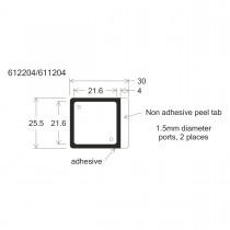 """HBW2222FL-HybriWell™ 1-22mm X 22mm X 0.14mm Depth, 60UL Approx. Vol., 25.5mm X 30mm OD, Fluor """"Friendly"""" Adhesive Chamber, 1.5mm Diameter Ports, 200 Port Seals Included - SKU: 611204 - 100 PACK"""