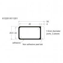 """HBW2240FL-HybriWell™ 1-22mm X 40mm X 0.25mm Depth, 180 - 200UL Approx. Vol., 25.5mm X 50mm OD,  Fluor """"Friendly"""" Adhesive Chamber,  1.5mm Diameter Ports, 200 Port Seals Included - SKU: 612201 - 100 PACK"""